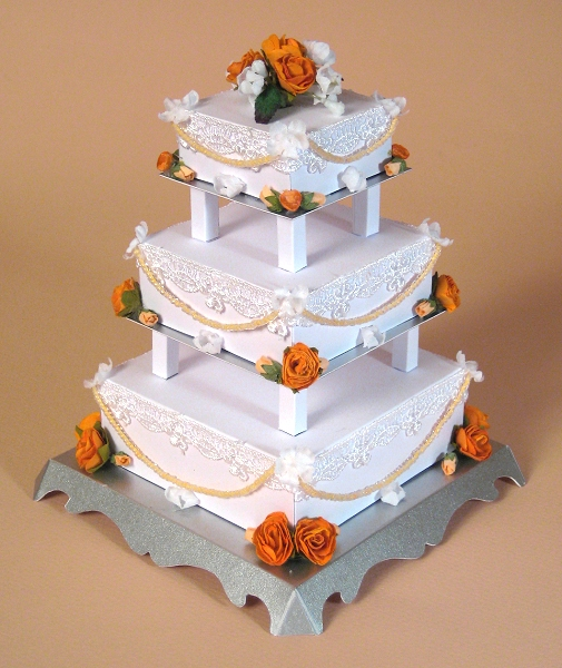 Card Craft / Card Making Templates - 3 Tier Wedding Cake