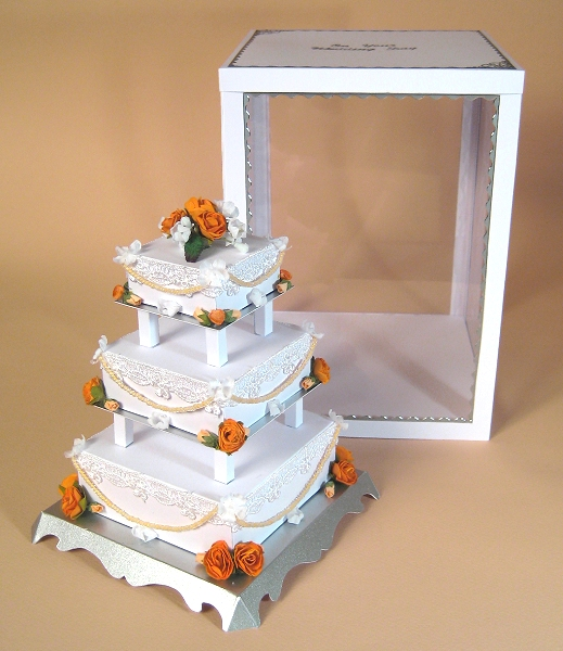 Card Craft / Card Making Templates - 3 Tier Wedding Cake and Display Box