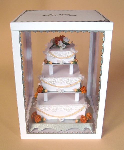 Card Craft / Card Making Templates - 3 Tier Wedding Cake in Display Box