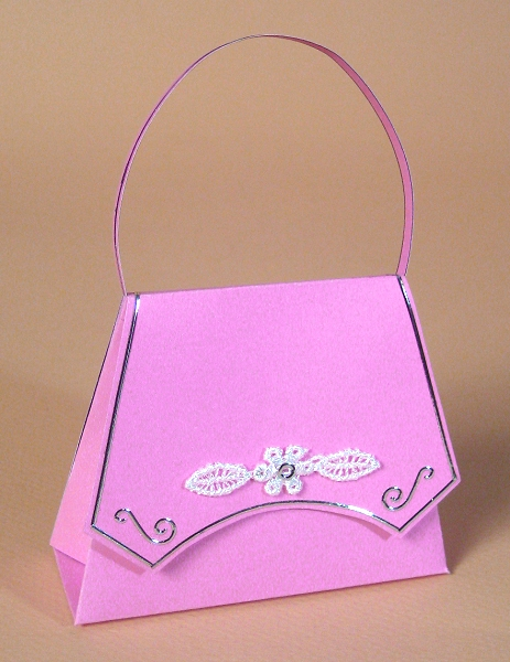 Card Craft / Card Making Templates - Handbag, pink design