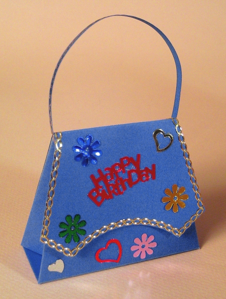 Card Craft / Card Making Templates - Handbag, blue design