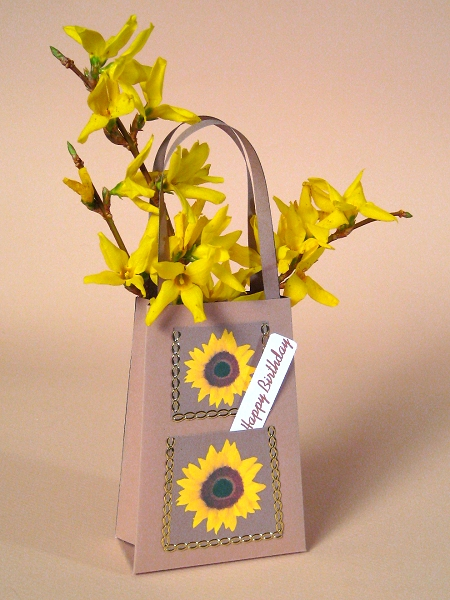 Card Craft / Card Making Templates - Handbag with sunflower design
