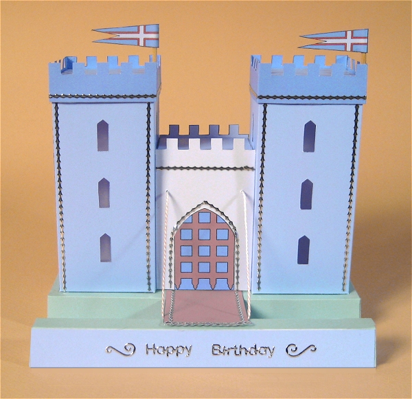 Card Craft / Card Making Templates - Castle, blue and grey