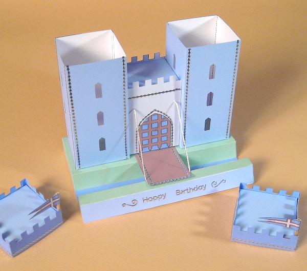 Card Craft / Card Making Templates - Castle, tower lids removed