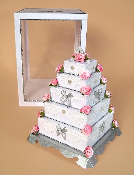 Card Craft / Card Making Templates - 5 Tier Wedding Cake and Display Box