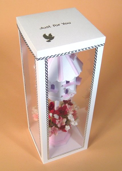 Card Craft / Card Making Templates - Dovecote in Display Box, showing lid decoration