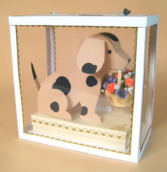 Card Craft / Card Making Templates - Barney the Dog in Display Box