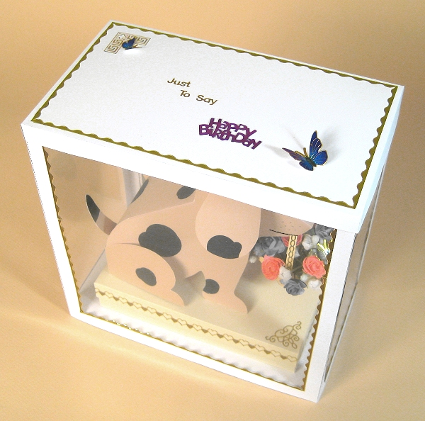 Card Craft / Card Making Templates - Barney the Dog in Display Box, showing lid decoration