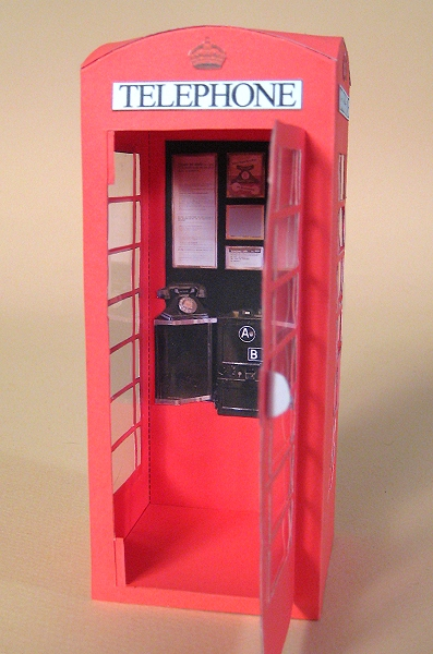 Card Craft / Card Making Templates - Telephone Box, inside