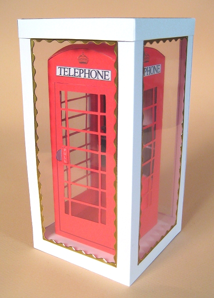 Card Craft / Card Making Templates - Telephone Box in Display Box