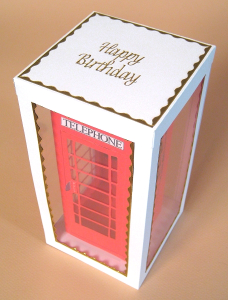 Card Craft / Card Making Templates - Telephone Box in Display Box, showing lid decoration