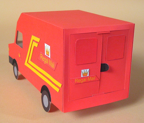 Card Craft / Card Making Templates - Post Van, rear doors