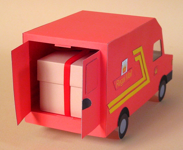 Card Craft / Card Making Templates - Post Van, rear doors open revealing gift box