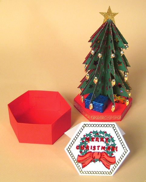 Card Making Downloads - Christmas Tree, base open, Christmas card