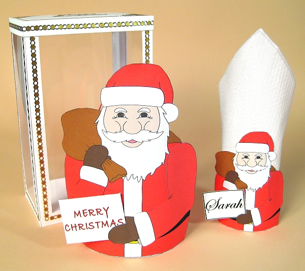 Card Craft / Card Making Templates for Christmas - Santa Bag and Serviette Holder