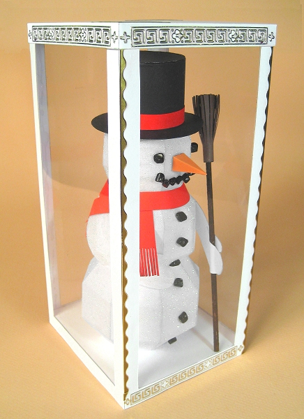 Card Making Downloads for Christmas, Snowman in display box