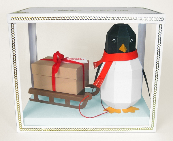 Card Craft Templates - Pogo the Penguin in display box, ideal for Christmas