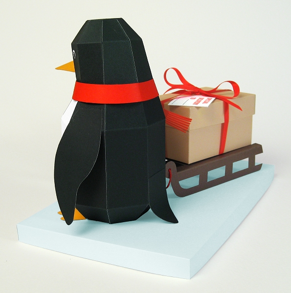 Card Making Downloads - Pogo the Penguin, ideal for Christmas