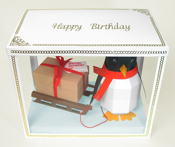 Card Making Downloads - Pogo the Penguin in display box, ideal for Christmas