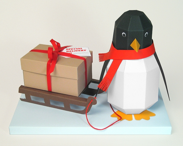 Card Craft / Card Making Templates - Pogo the Penguin, ideal for Christmas