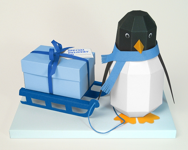 Card Making Templates - Pogo the Penguin, blue version, ideal for Christmas