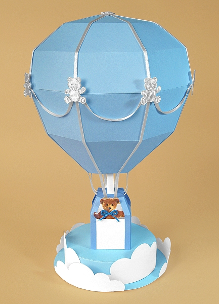 Card Craft Templates - Hot Air Balloon, blue version