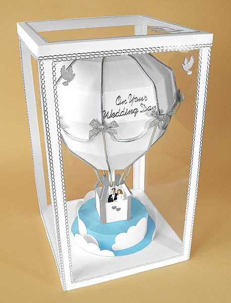 Card Making Downloads - Hot Air Balloon in display box, wedding version
