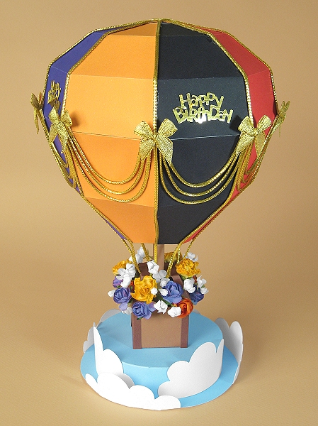 Card Making Downloads - Hot Air Balloon, multi-colour version