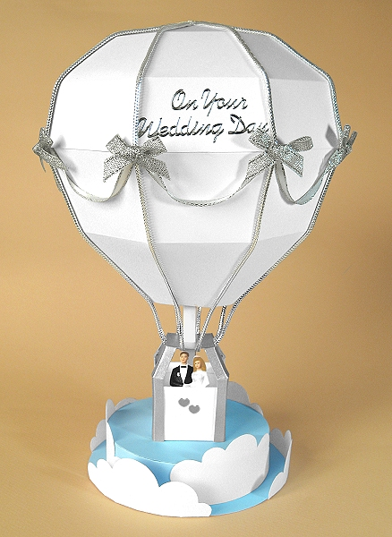 Card Craft / Card Making Templates - Hot Air Balloon, wedding version