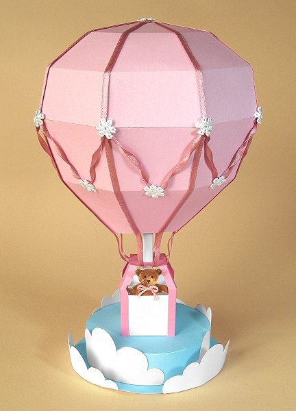 Card Making Templates - Hot Air Balloon, pink version
