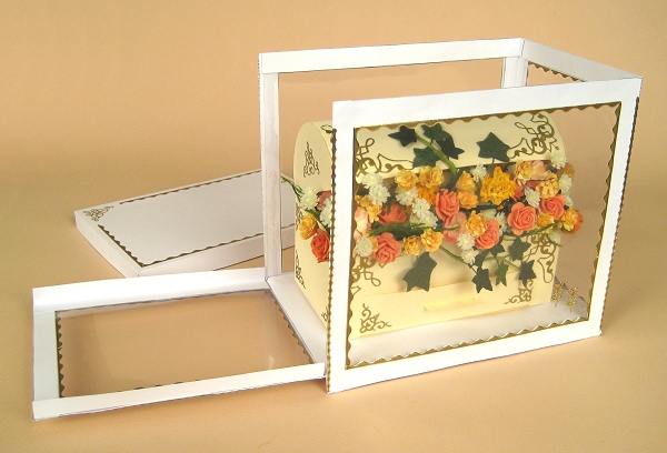 Card Craft Templates - Treasure Chest with flowers, side of display box open