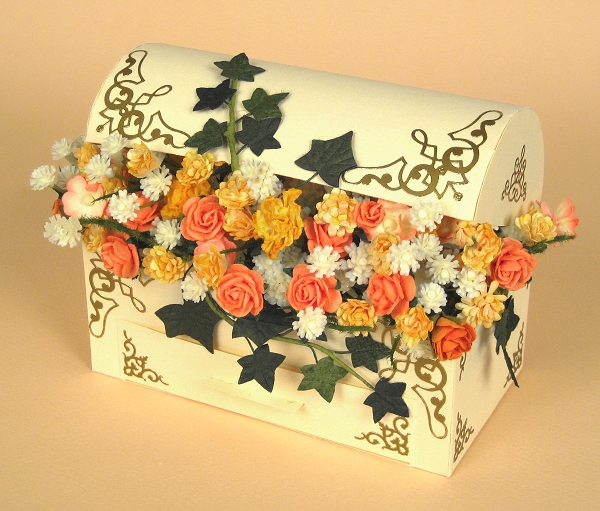 Card Making Downloads - Treasure Chest with flowers