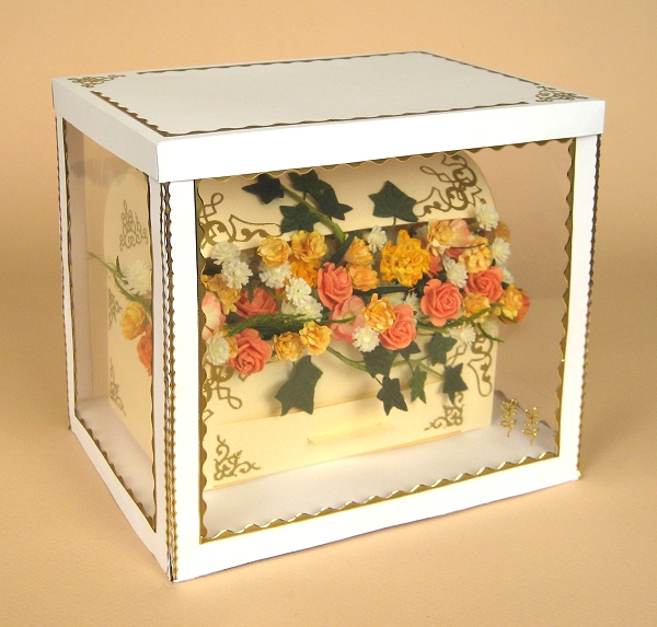 Card Making Templates - Treasure Chest with flowers in display box