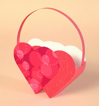 Card Craft Templates for Valentine's Day- Love Birds basket