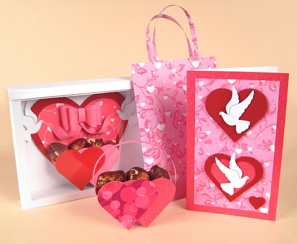 Card Craft / Card Making Templates for Valentine's Day - Love Birds 3-in-1