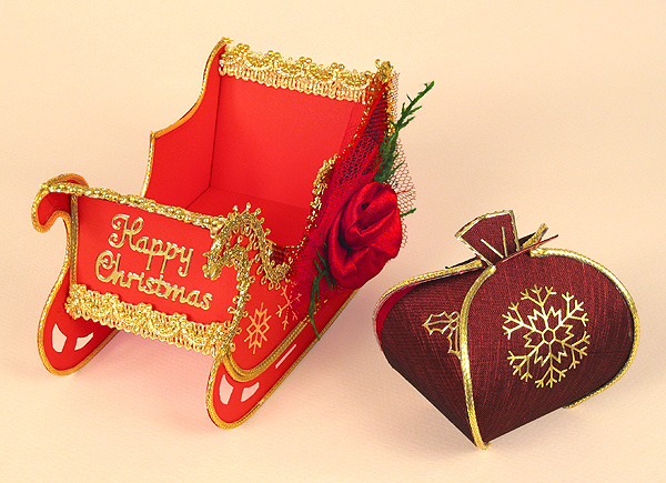 Card Craft Templates - Christmas Sleigh with Santa's Sack