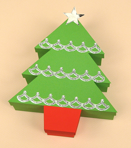 Card Craft Templates - Christmas Tree Gift Box