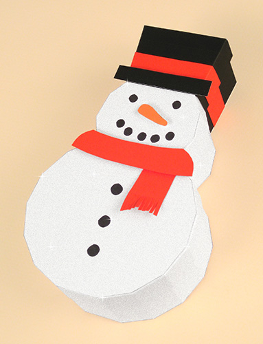 Card Craft Templates - Christmas Snowman Gift Box