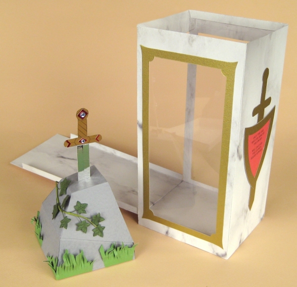 Card Craft / Card Making Templates - Sword in the Stone and Display Box