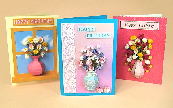 Card Craft / Card Making Templates - Vase Card Embellishment, 3 designs
