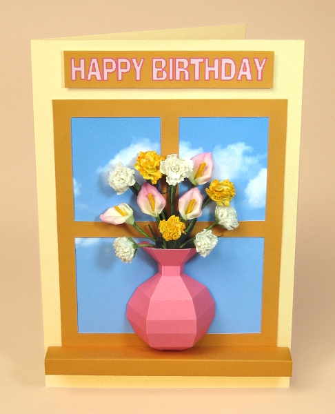 Card Craft / Card Making Templates - Vase Card Embellishment, vase on windowsill.