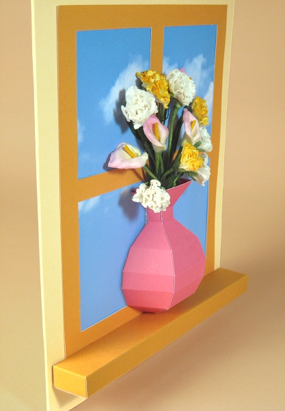 Card Craft / Card Making Templates - Vase Card Embellishment, vase on windowsill