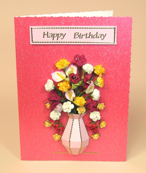 Card Craft / Card Making Templates - Vase Card Embellishment on hot pink card