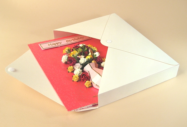 Card Craft / Card Making Templates - Vase Card Embellishment, card in envelope box