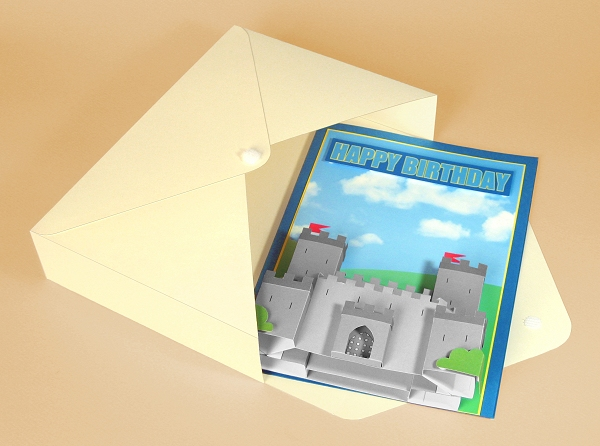 Card Craft / Card Making Templates - Knight's Castle in Envelope Box