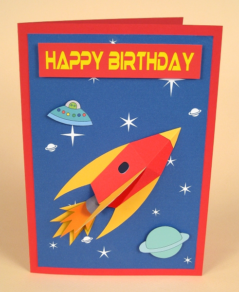 Card Craft / Card Making Templates - 3D Space Rocket Card Embellishment