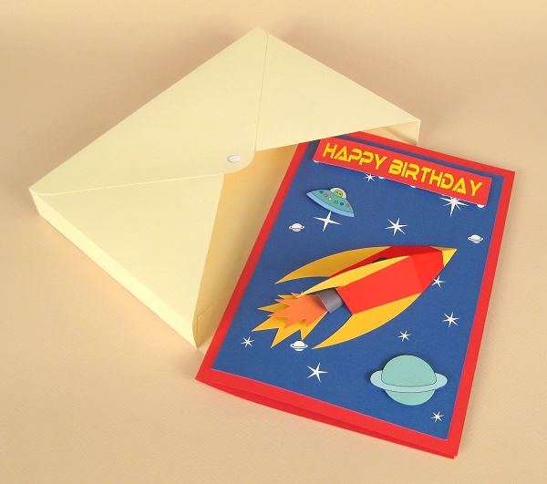 Card Craft / Card Making Templates - 3D Space Rocket Card Embellishment and Envelope Box