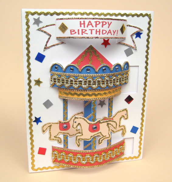 Card Craft / Card Making Templates - Pop-Up Carousel Card