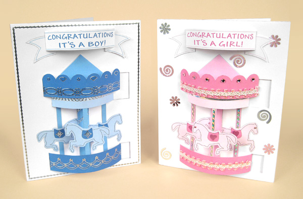 Card Craft / Card Making Templates - Pop-Up Carousel Card for boy or girl