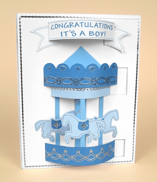Card Craft / Card Making Templates - Pop-Up Carousel Card in blue